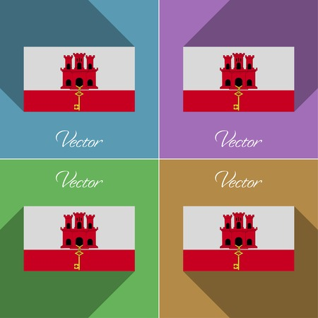 gibraltar: Flags of Gibraltar. Set of colors flat design and long shadows. Vector illustration