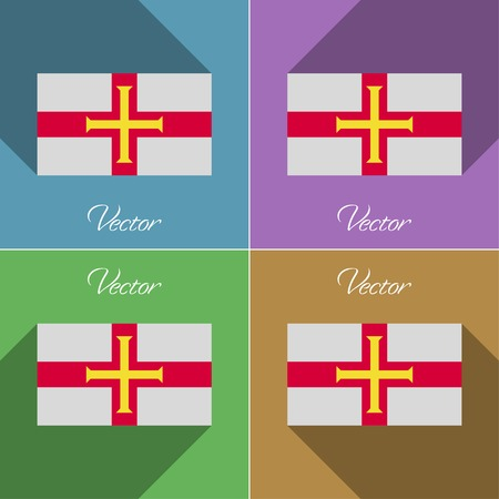guernsey: Flags of Guernsey. Set of colors flat design and long shadows. Vector illustration