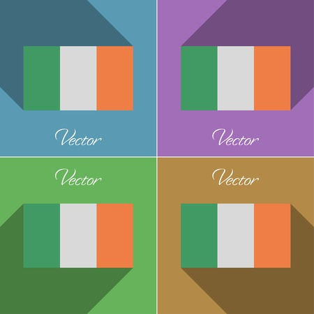 irish banners: Flags of Ireland. Set of colors flat design and long shadows. Vector illustration