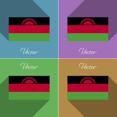 Flags of Malawi. Set of colors flat design and long shadows. Vector illustration Vector