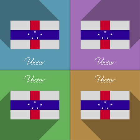 antilles: Flags of Netherlands Antilles. Set of colors flat design and long shadows. Vector illustration