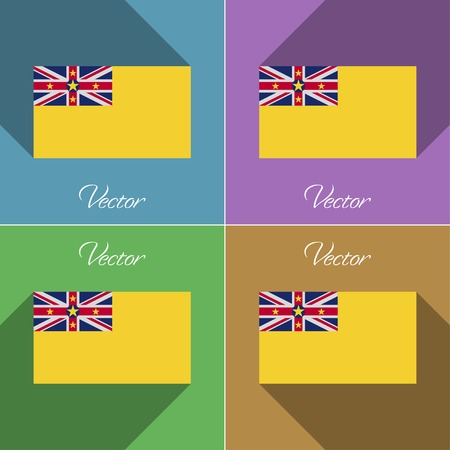 niue: Flags of Niue. Set of colors flat design and long shadows. Vector illustration