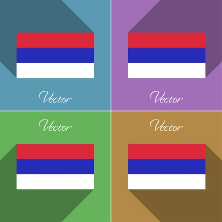 republika: Flags of Republika Srpska. Set of colors flat design and long shadows. Vector illustration