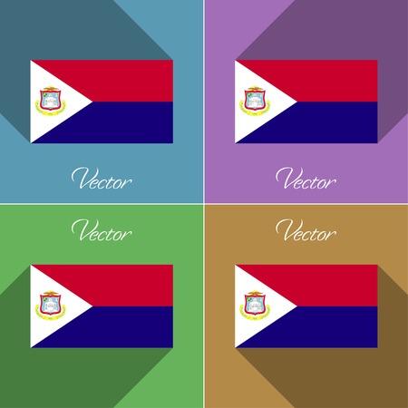 martin: Flags of Saint Martin. Set of colors flat design and long shadows. Vector illustration