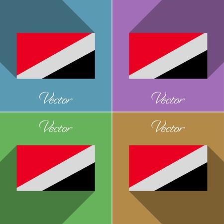 sealand: Flags of Sealand Principality. Set of colors flat design and long shadows. Vector illustration