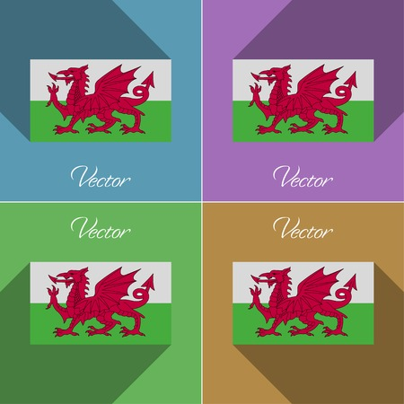 Flags of Wales. Set of colors flat design and long shadows. Vector illustration