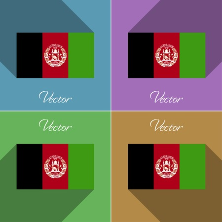 afghan: Flags of Afghanistan. Set of colors flat design and long shadows. Vector illustration
