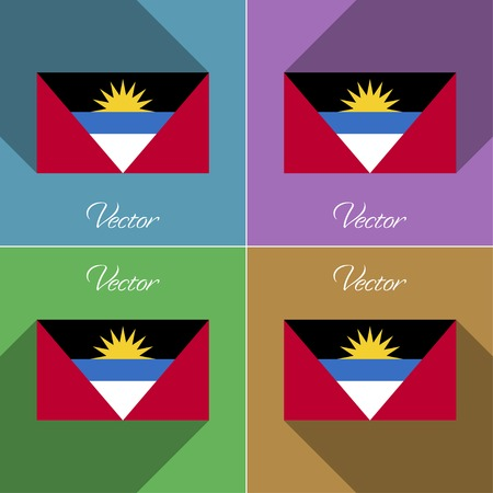 barbuda: Flags of Antigua and Barbuda. Set of colors flat design and long shadows. Vector illustration