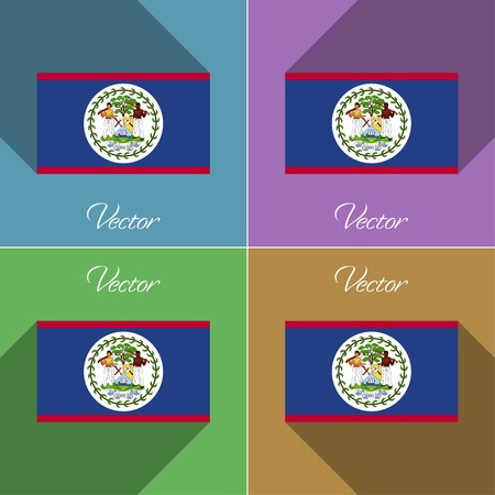 belize: Flags of Belize. Set of colors flat design and long shadows. Vector illustration Illustration