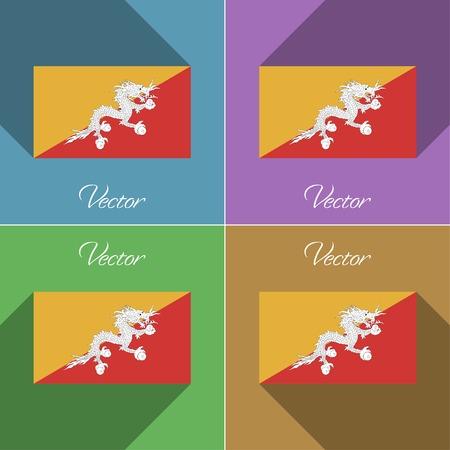 bhutan: Flags of Bhutan. Set of colors flat design and long shadows. Vector illustration