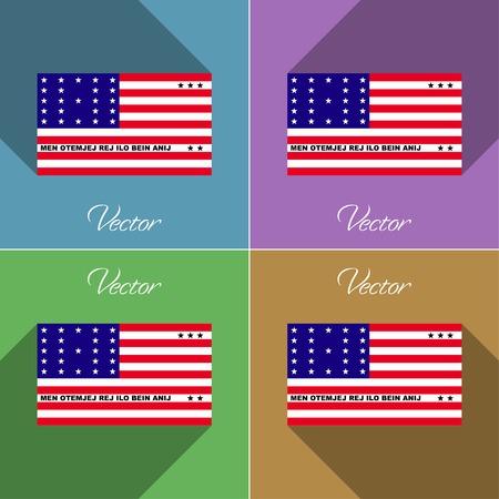 atoll: Flags of Bikini Atoll. Set of colors flat design and long shadows. Vector illustration