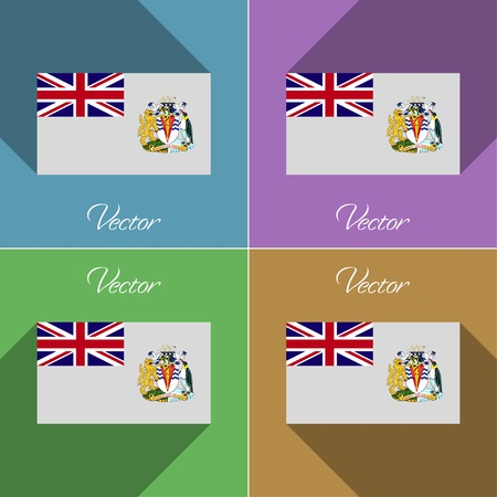 antarctic: Flags of British Antarctic Territory. Set of colors flat design and long shadows. Vector illustration