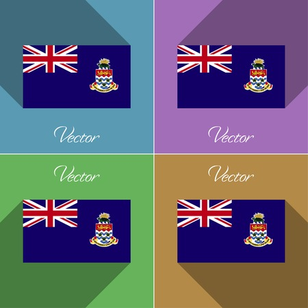 cayman: Flags of Cayman Islands. Set of colors flat design and long shadows. Vector illustration Illustration