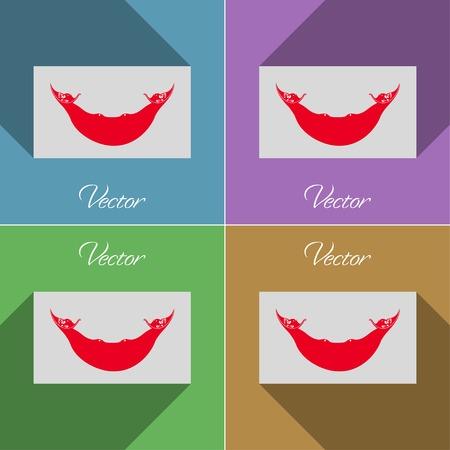 rapa nui: Banderas de Eaaster Rapa Nui. Conjunto de colores diseño plano y largas sombras. Ilustración vectorial Vectores