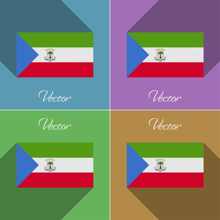 equatorial: Flags of Equatorial Guinea. Set of colors flat design and long shadows. Vector illustration