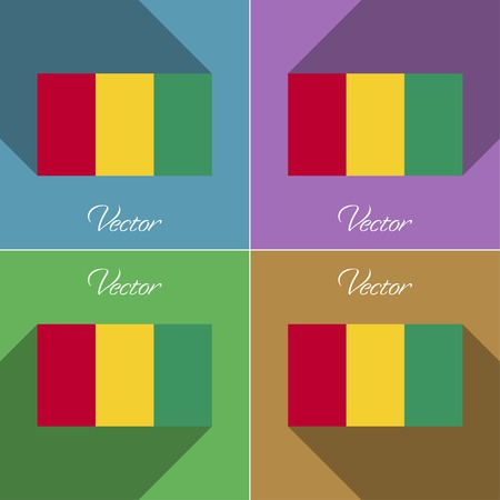 correctly: Flags of Guinea. Set of colors flat design and long shadows. Vector illustration Illustration