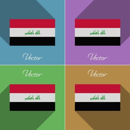 militant: Flags of Iraq. Set of colors flat design and long shadows. Vector illustration