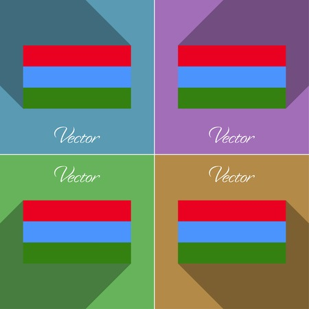 northwestern: Flags of Karelia. Set of colors flat design and long shadows. Vector illustration