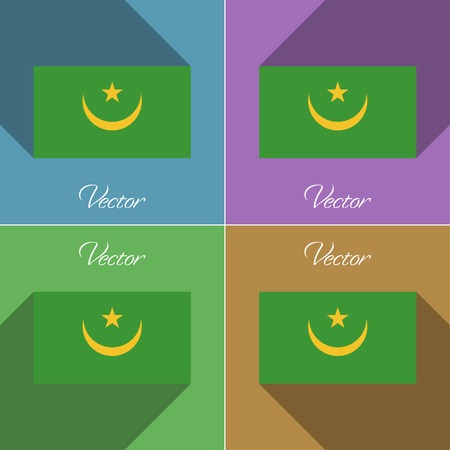 northwest africa: Flags of Mauritania. Set of colors flat design and long shadows. Vector illustration Illustration