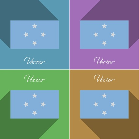 micronesia: Flags of Micronesia. Set of colors flat design and long shadows. Vector illustration