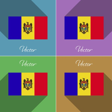 moldovan: Flags of Moldova. Set of colors flat design and long shadows. Vector illustration Illustration