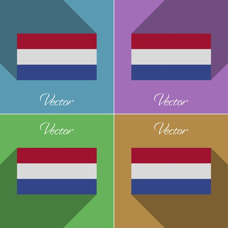 constitutional: Flags of Netherlands. Set of colors flat design and long shadows.