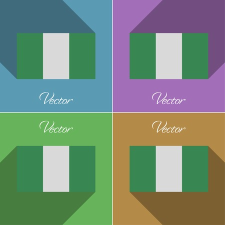 anthem: Flags of Nigeria. Set of colors flat design and long shadows.