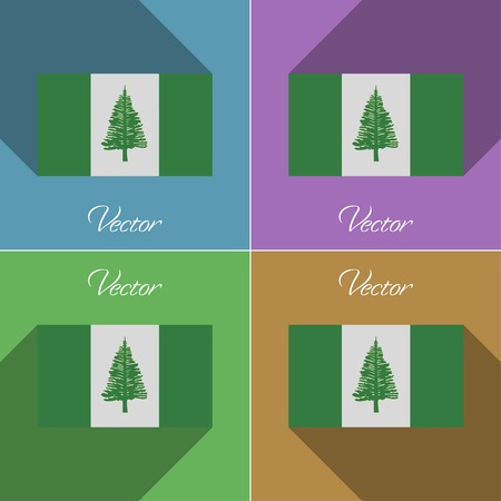 kingston: Flags of Norfolk Island. Set of colors flat design and long shadows. Vector illustration