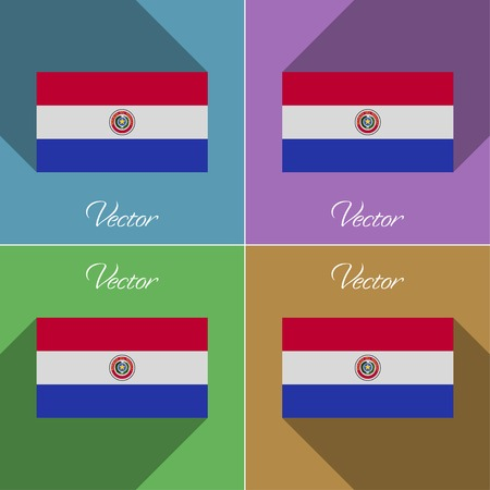 standards: Flags of Paraguay. Set of colors flat design and long shadows. Vector illustration