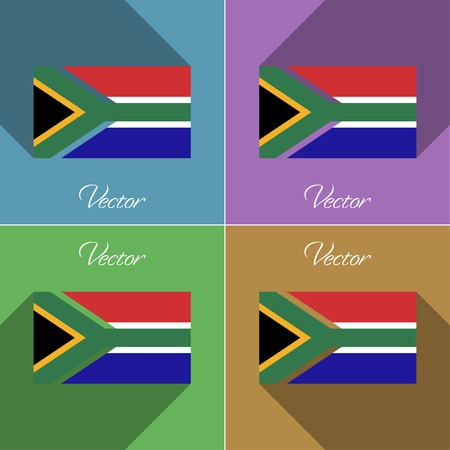 Flags of South Afreica. Set of colors flat design and long shadows. Vector illustration Illustration