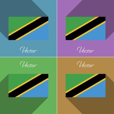 Flags of Tanzania. Set of colors flat design and long shadows. Vector illustration