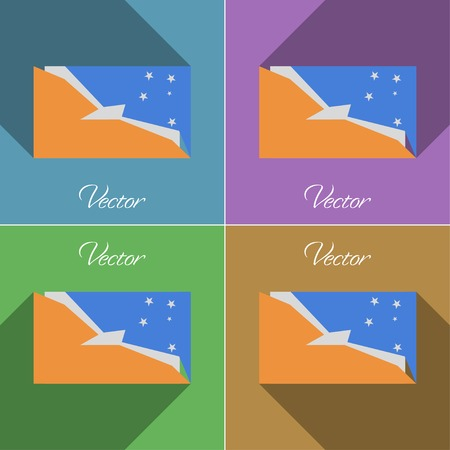 terra: Flags of Tierra del Fuego Province. Set of colors flat design and long shadows. Vector illustration