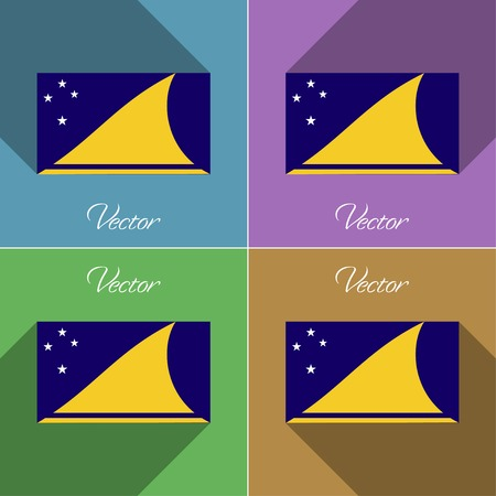 tokelau: Flags of Tokelau. Set of colors flat design and long shadows. Vector illustration