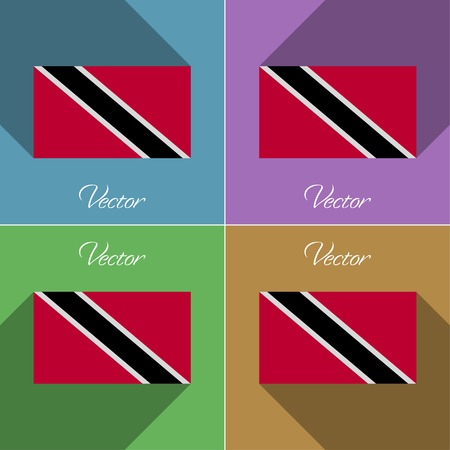 trinidadian: Flags of Trinidad and Tobago. Set of colors flat design and long shadows. Vector illustration