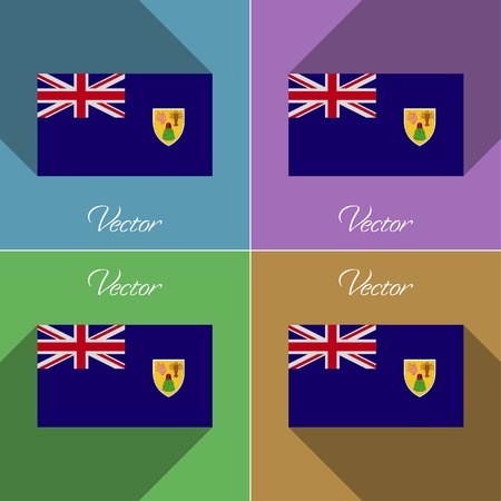 the turks: Flags of Turks and Caicos. Set of colors flat design and long shadows. Vector illustration