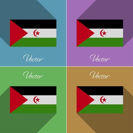 landlocked country: Banderas del S�hara Occidental. Conjunto de colores dise�o plano y largas sombras. Ilustraci�n vectorial