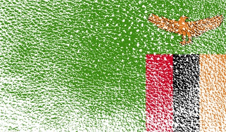 zambia: Flag of Zambia with old texture.  illustration