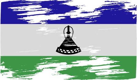 lesotho: Flag of Lesotho with old texture.  illustration Stock Photo