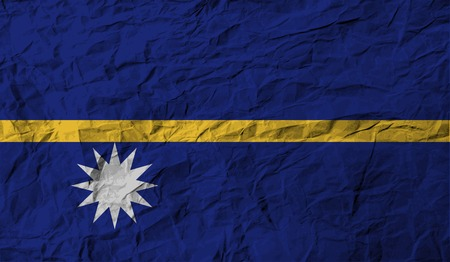 nauru: Flag of Nauru with old texture.  illustration