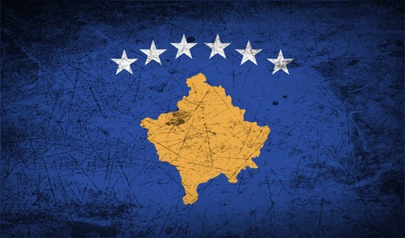 republika: Flag of Kosovo with old texture.  illustration