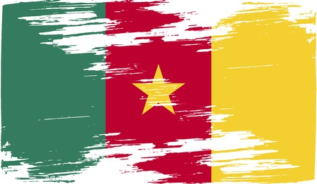 cameroonian: Flag of Cameroon with old texture.  illustration