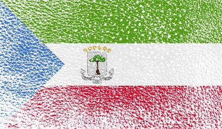 equatorial: Flag of Equatorial Guinea with old texture.  illustration