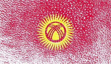 kyrgyzstan: Bandera de Kirguist�n con textura de edad. ilustraci�n Foto de archivo