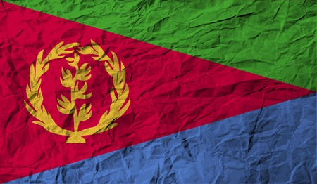 eritrea: Flag of Eritrea with old texture.  illustration Stock Photo