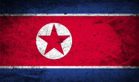 north korea: Flag of North Korea with old texture.  illustration