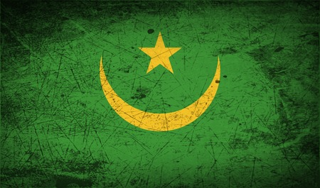 northwest africa: Flag of Mauritania with old texture.  illustration