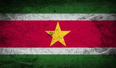 suriname: Vlag van Suriname met oude textuur. illustratie