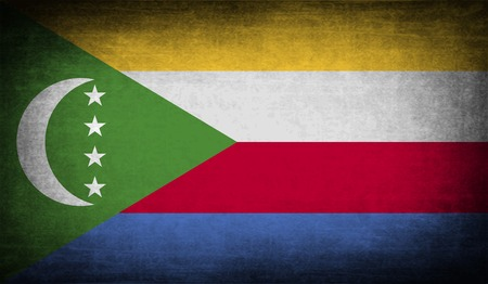 comoros: Flag of Comoros with old texture.  illustration