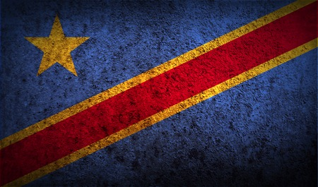 democratic: Flag of Congo Democratic Republic with old texture.  illustration Stock Photo