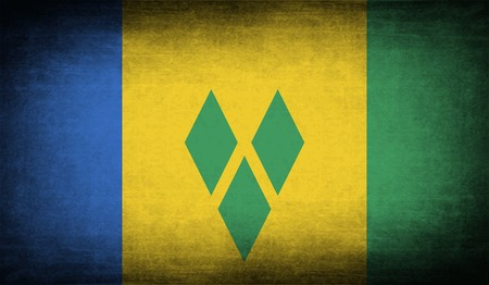 grenadines: Flag of Saint Vincent and The Grenadines with old texture.  illustration Stock Photo